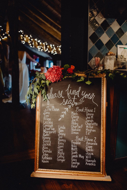Black Board Chalk Table Plan Seating Chart Flowers Intimate Pub Wedding Heather Sham Photography