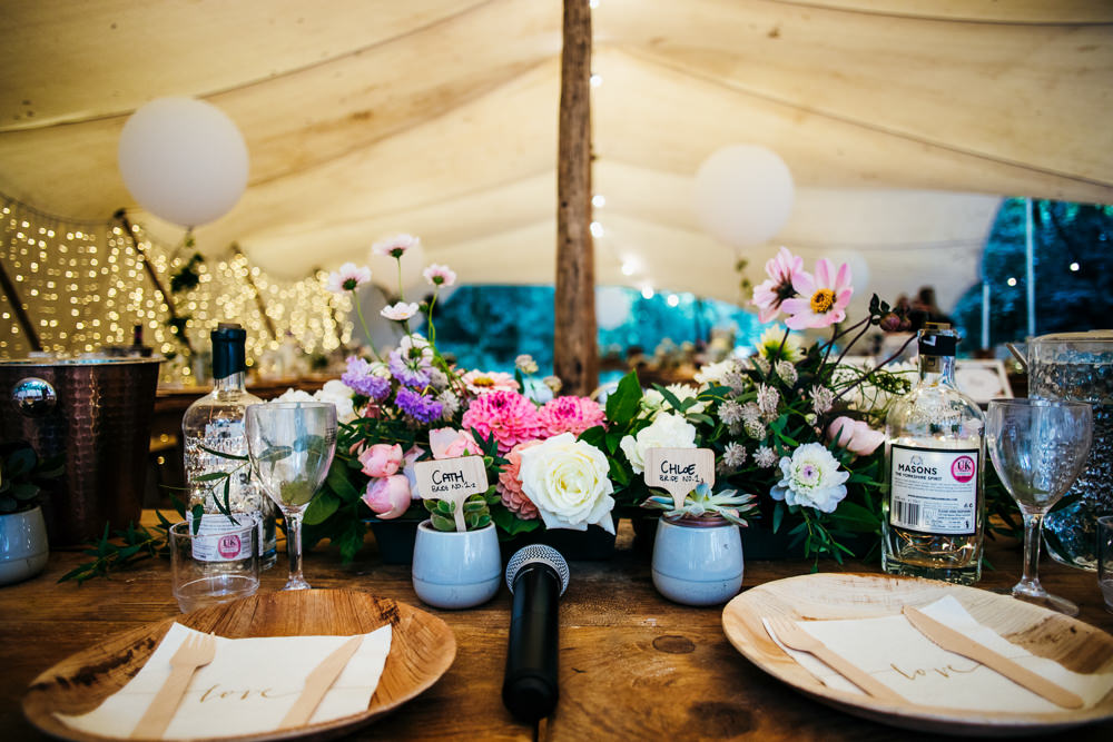 Top Table Flowers Decor Lila's Wood Wedding Two-D Photography