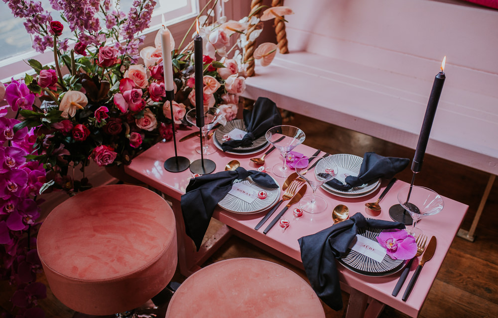 Tablescape Decor Decorations Black Candles Flowers Gold Cutlery Modern Pink Wedding Ideas Aurora Grey Photography