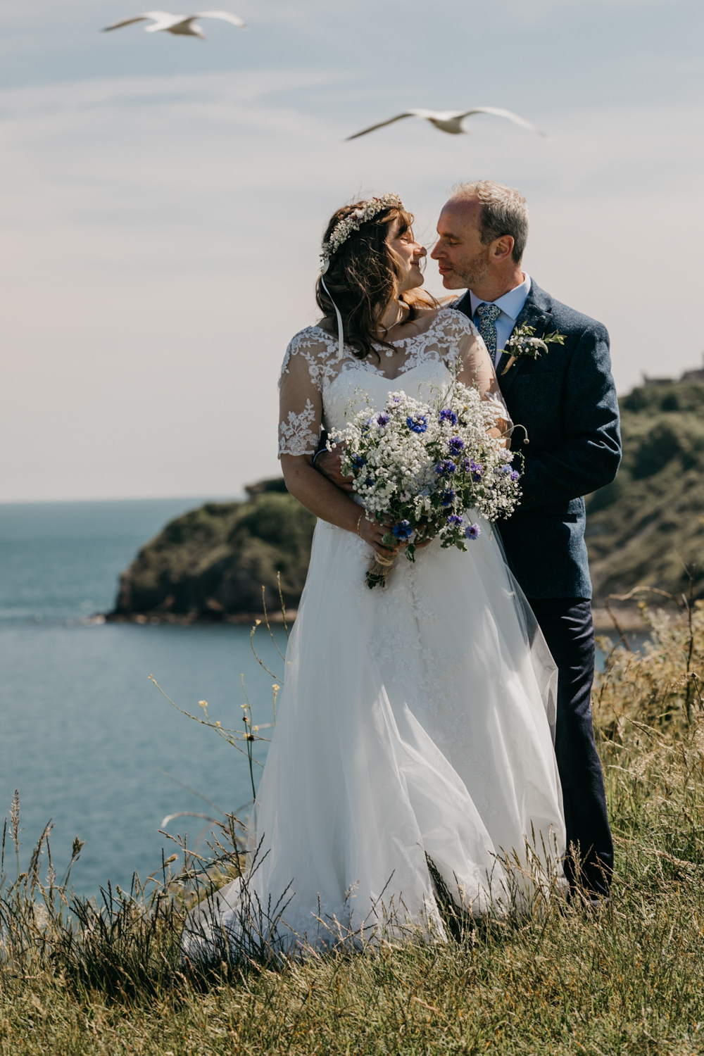 Dress Gown Bride Bridal Lace Short Sleeves Flower Crown Seaside Wedding Oli and Steph Photography