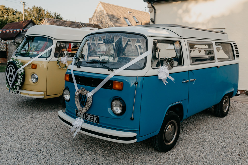 VW Campervan Transport Seaside Wedding Oli and Steph Photography