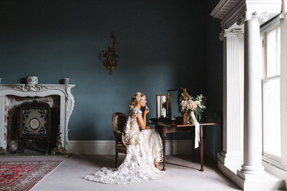 Bride Bridal Prep Dressing Table Boconnoc Wedding Debs Alexander Photography