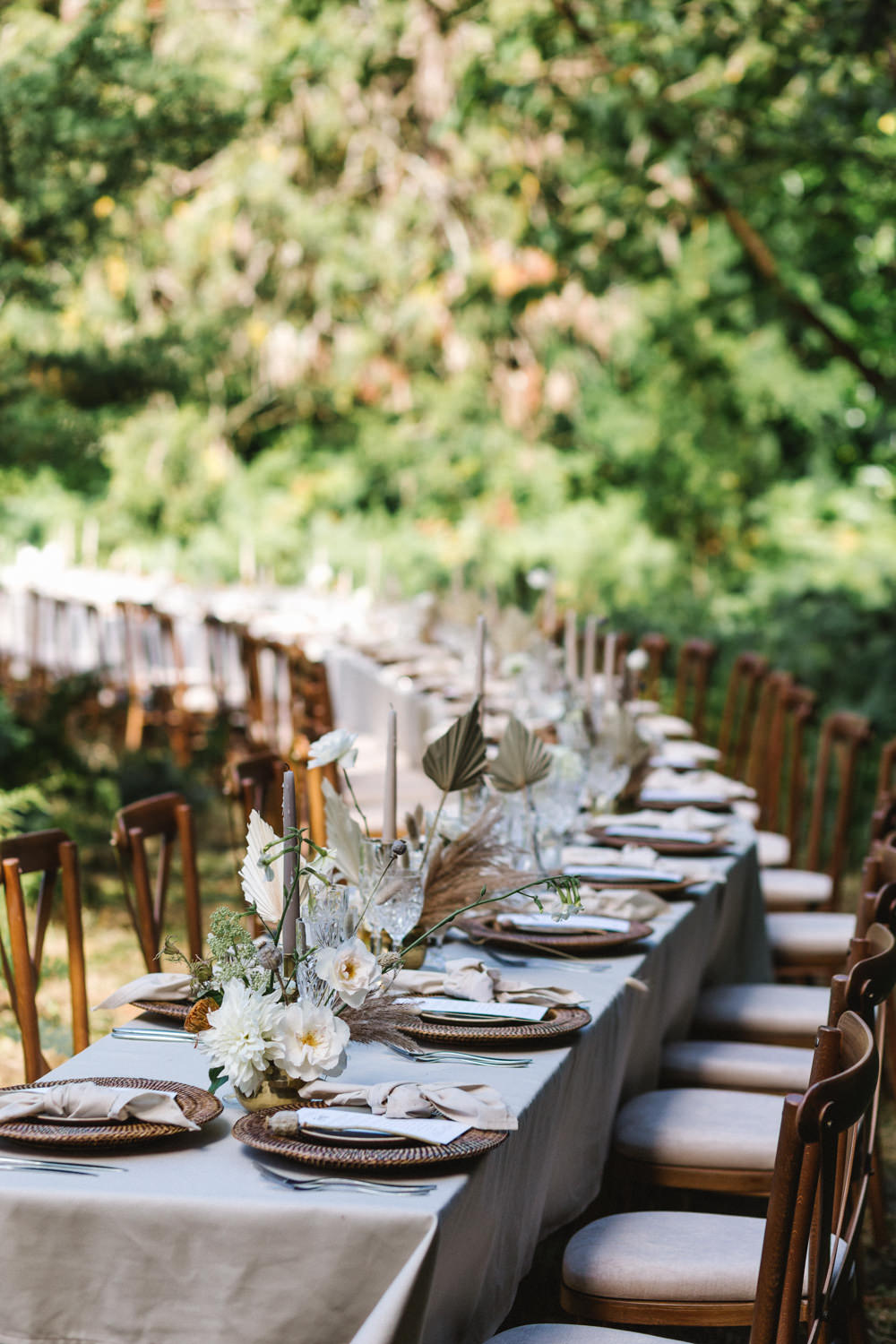 Curved Table Semi Circle Tablescape Set Up Decor Woods Woodland Boconnoc Wedding Debs Alexander Photography