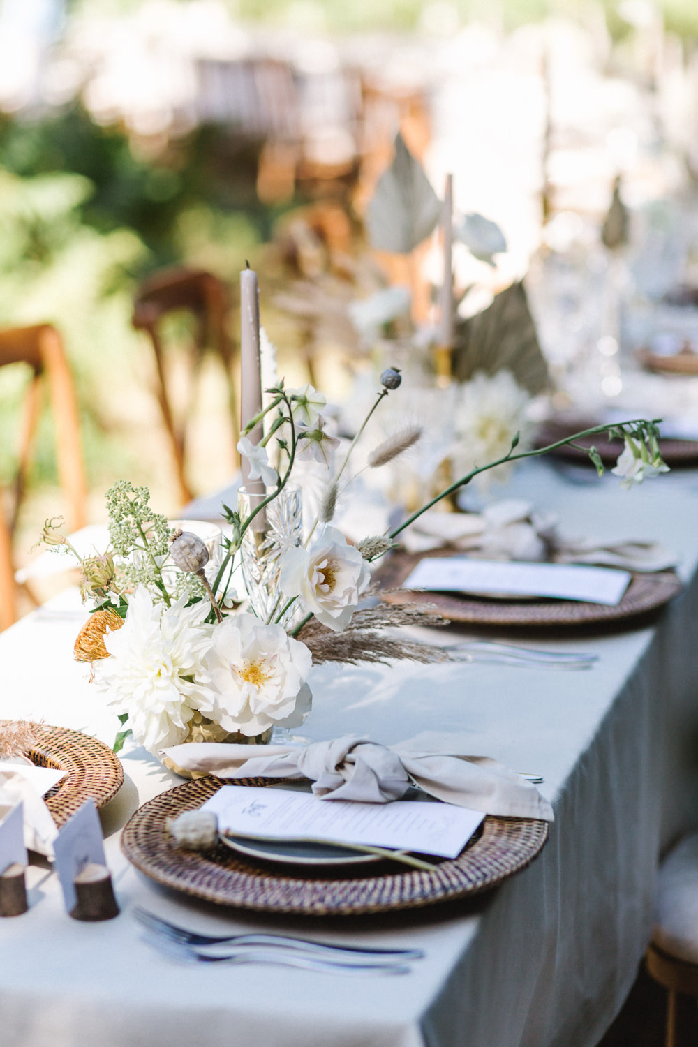 Table Tablescape Decor Rattan Charger Plates Taupe Napkins Candles Flowers Boconnoc Wedding Debs Alexander Photography