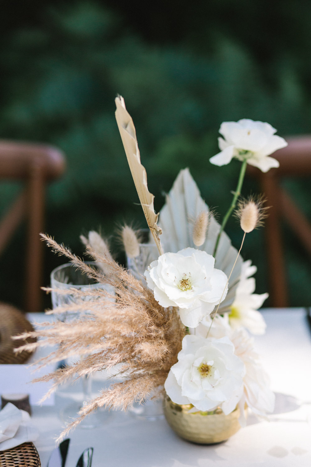 Table Flowers Centrepiece Palm Leave Grass Dried Seeds Boconnoc Wedding Debs Alexander Photography