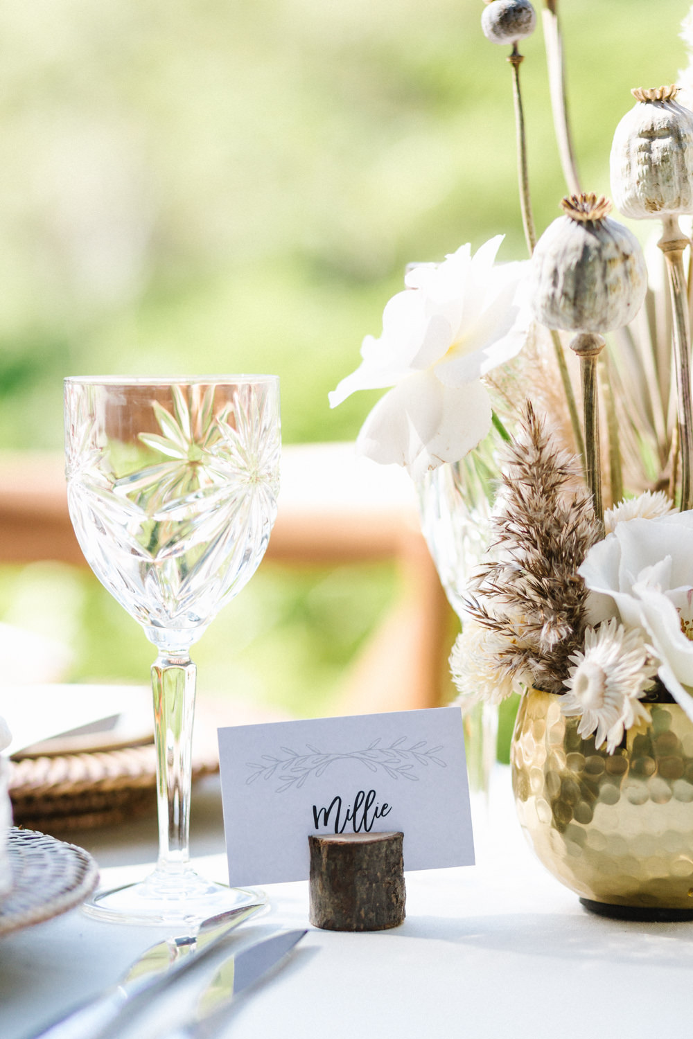 Log Slice Table Name Card Place Boconnoc Wedding Debs Alexander Photography