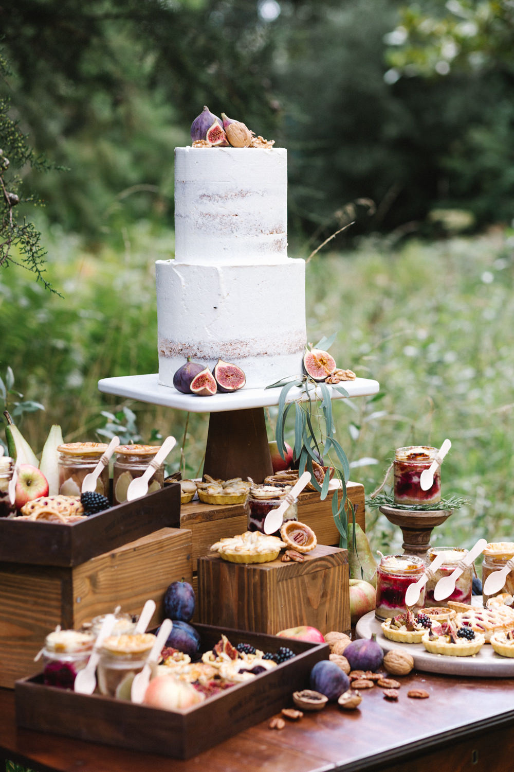 Semi Naked Cake Fruit Boconnoc Wedding Debs Alexander Photography