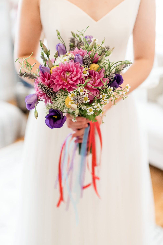 Bouquet Flowers Bride Bridal Colourful Ribbon Daisy Billy Ball Bonhams Barn Wedding Will Patrick Photography