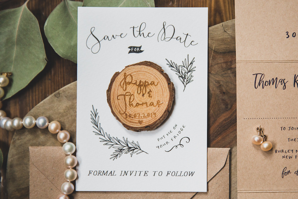Save The Date Stationery Invite Invitation Log Slice Burley Manor Wedding Becky Bailey Photographer