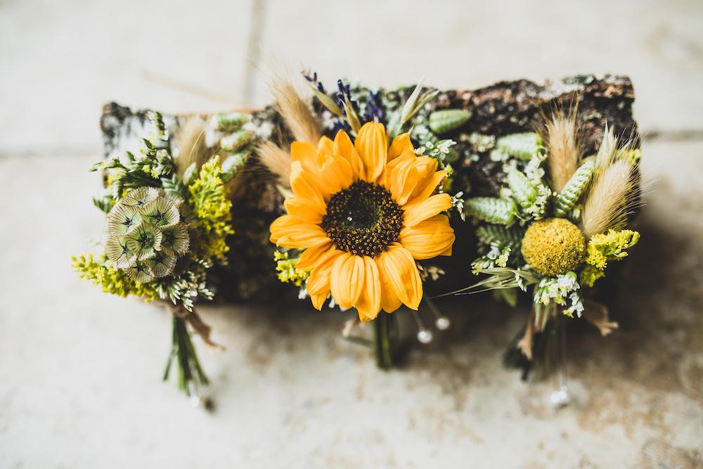 Sunflower Buttonhole Flowers Burley Manor Wedding Becky Bailey Photographer
