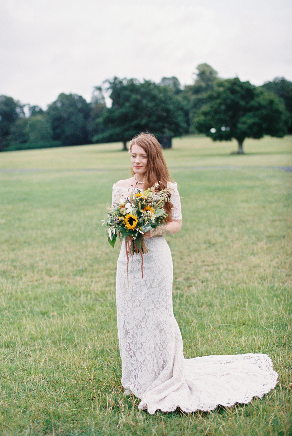 Dress Gown Bride Bridal White Rose Lace Fit Flare Off Shoulder Bardot Burley Manor Wedding Becky Bailey Photographer