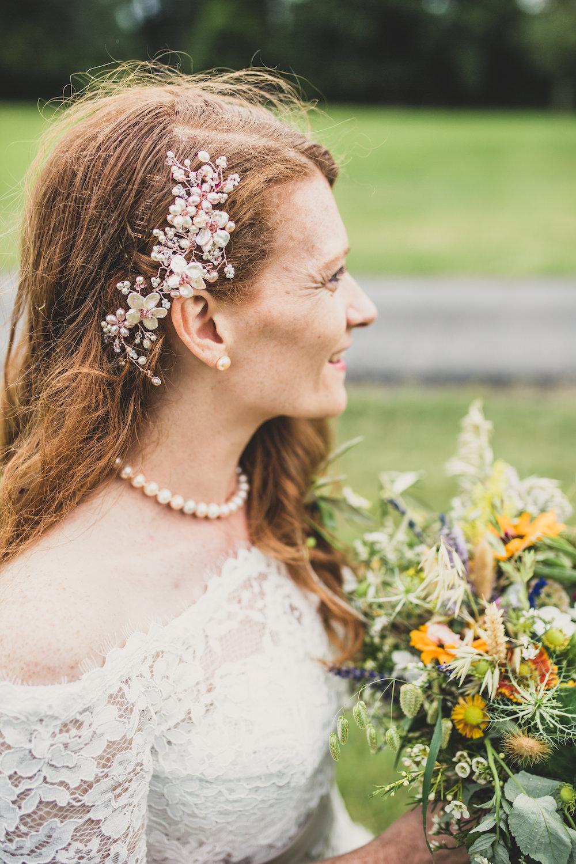 Bride Bridal Hair Style Comb Accessory Burley Manor Wedding Becky Bailey Photographer