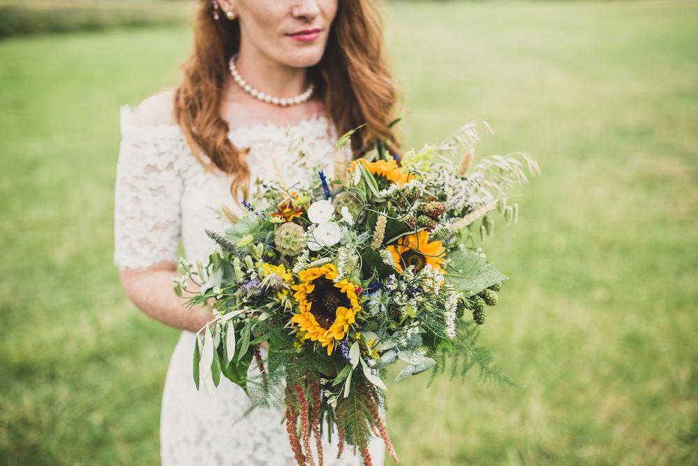 Bouquet Flowers Bride Bridal Sunflower Sundlowers Greenery Foliage Burley Manor Wedding Becky Bailey Photographer