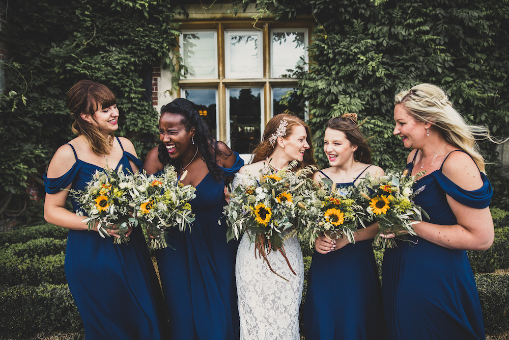 Bridesmaids Bridesmaid Dress Dresses Blue Sunflower Bouquets Burley Manor Wedding Becky Bailey Photographer