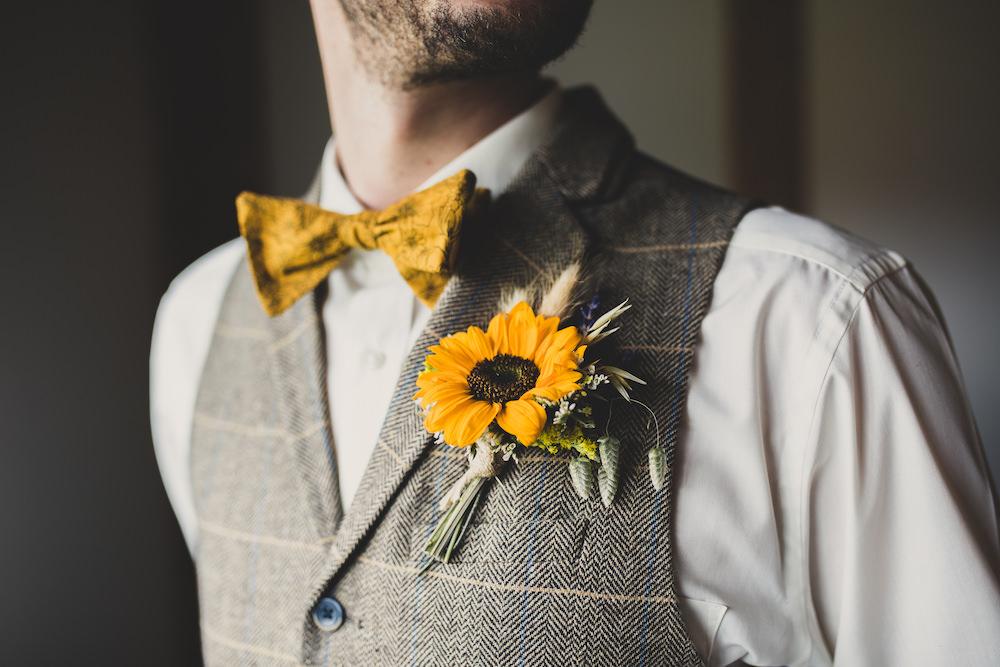 Groom Tweed Waistcoat Yellow Bow Tie Sunflowers Buttonhole Burley Manor Wedding Becky Bailey Photographer