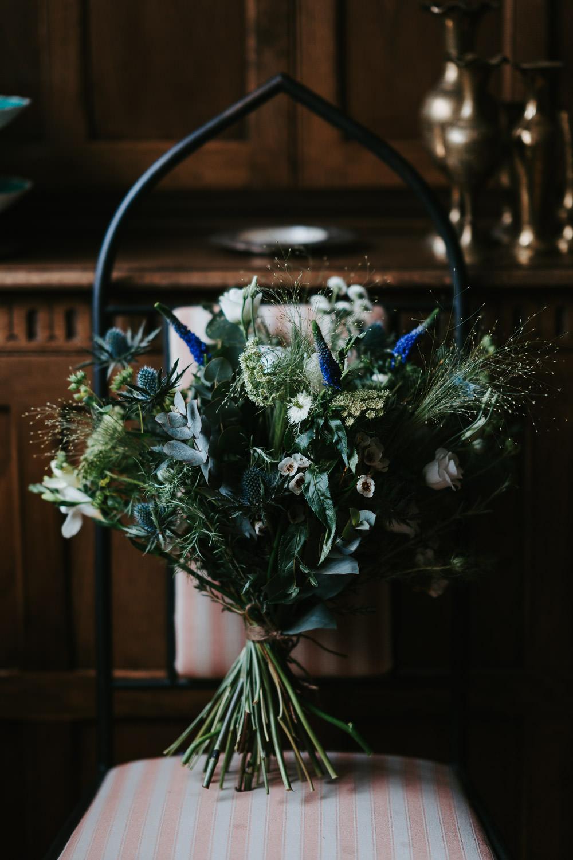 Bouquet Flowers Bride Bridal Greenery Foliage Thistle Country Festival Wedding Jonny Gouldstone Photography