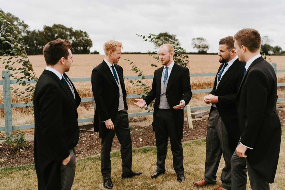 Groom Suit Tails Morning Suit Tie Waistcoat Groomsmen Country Festival Wedding Jonny Gouldstone Photography