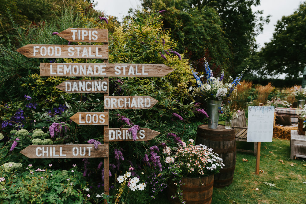 Wooden Sign Signs Signpost Country Festival Wedding Jonny Gouldstone Photography