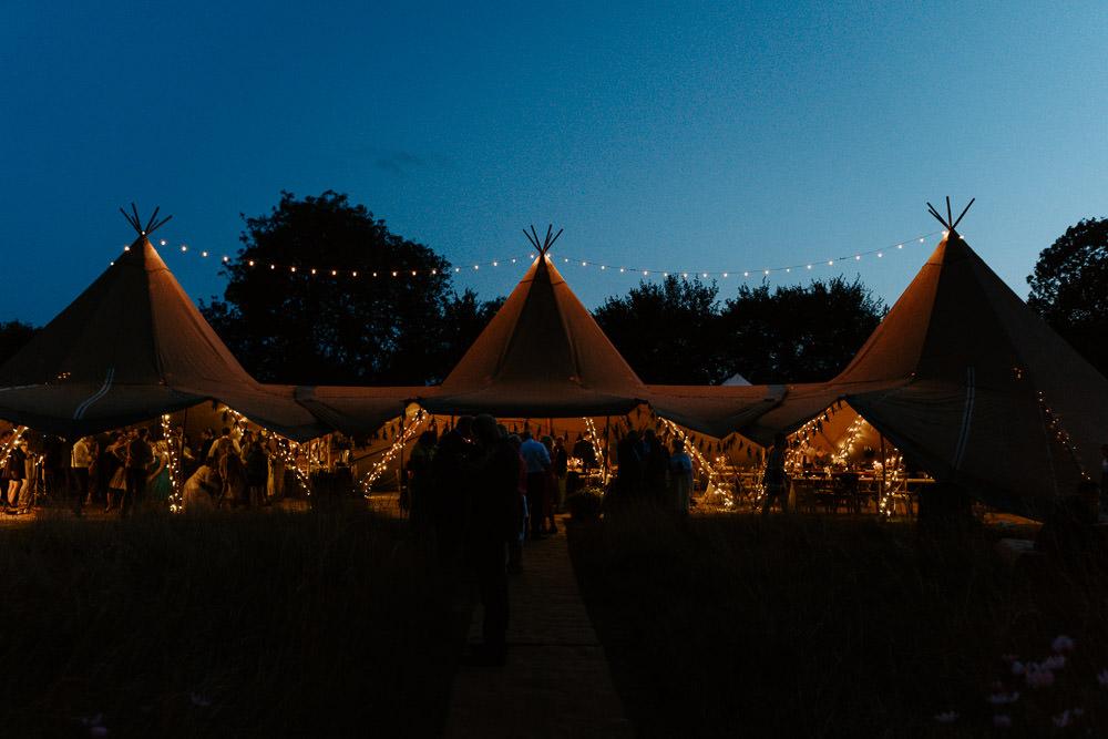 Tipi Fairy Lights Lighting Country Festival Wedding Jonny Gouldstone Photography