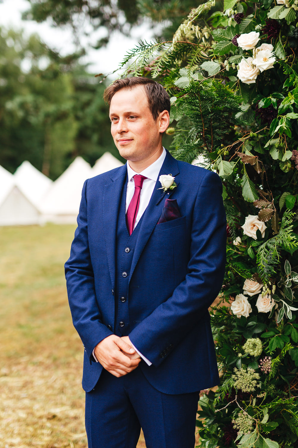 Groom Suit Blue Red Tie Festival Party Wedding Kirsty Mackenzie Photography