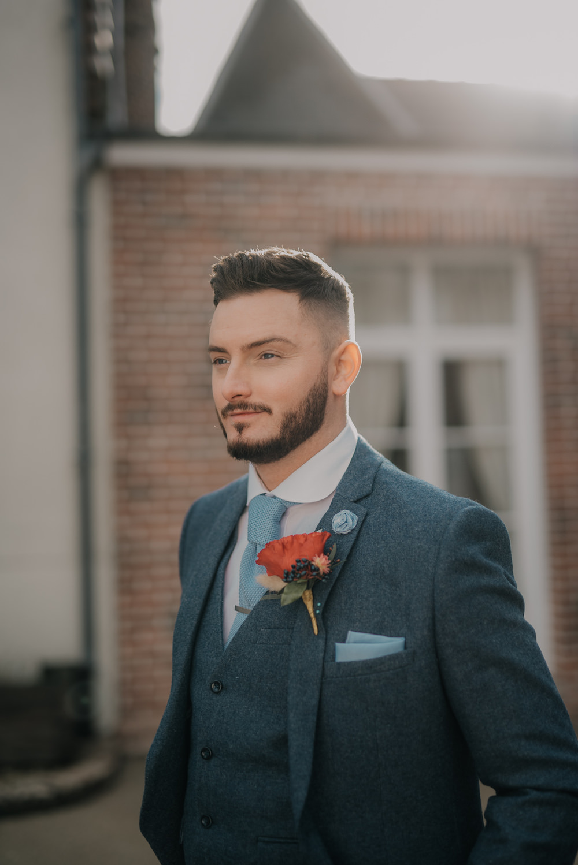 Groom Suit Blue Tweed Tie France Elopement Ideas Pierra G Photography
