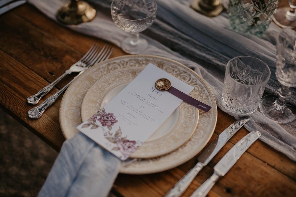 Place Setting Menu Wax Seal France Elopement Ideas Pierra G Photography
