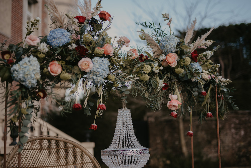 Table Tablescape Hanging Suspended Flowers Chandelier France Elopement Ideas Pierra G Photography