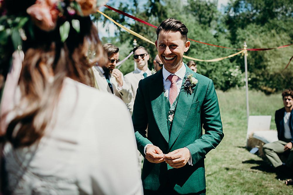 Groom Suit Green Pink Tie Floral Waistcoat Hadsham Farm Wedding Victoria Somerset How Photography