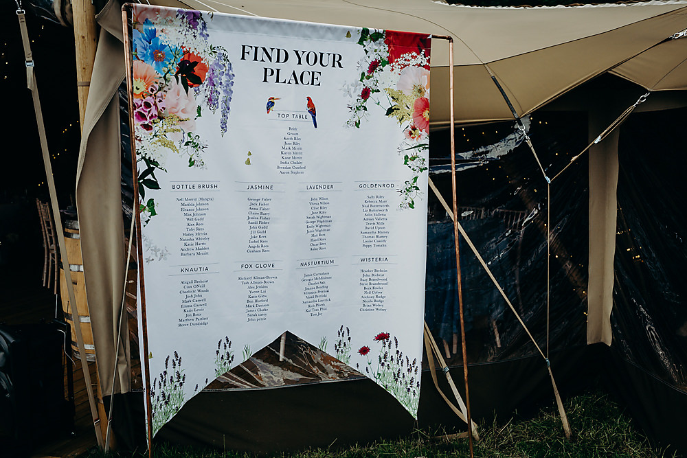 Table Plan Seating Chart Banner Floral Hadsham Farm Wedding Victoria Somerset How Photography