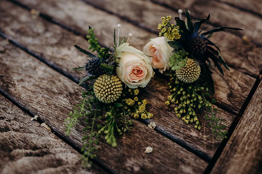 Buttonhole Flowers Hadsham Farm Wedding Victoria Somerset How Photography