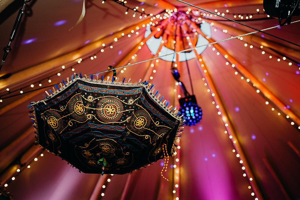 Tipi Umbrella Decor Lights Hadsham Farm Wedding Victoria Somerset How Photography
