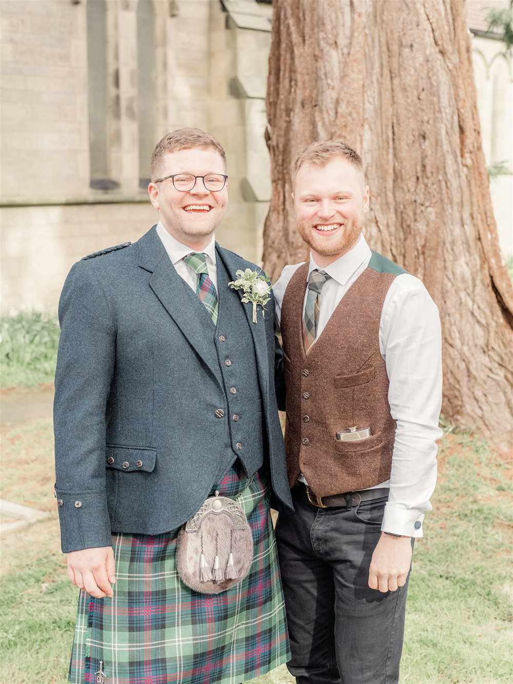 Groom Kilt Suit Tartan Tie Buttonhole Flowers Groomsman Lockdown Wedding Carn Patrick Photography
