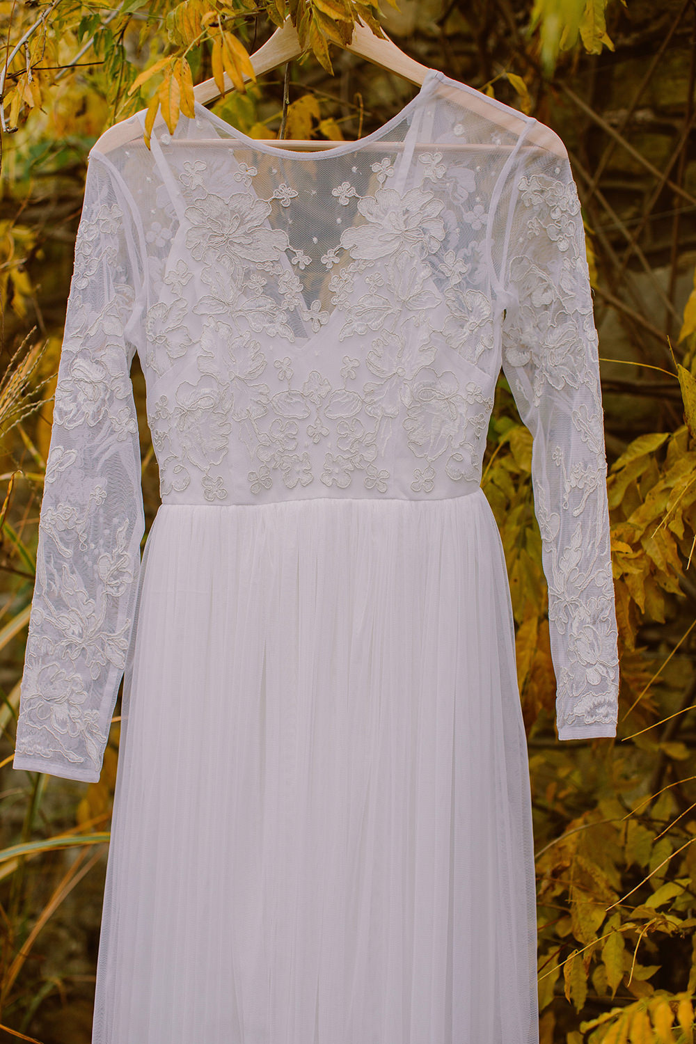 Dress Gown Bride Bridal Lace Sleeves Outdoor Autumn Wedding Ruby Walker Photography