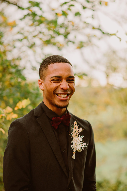 Groom Suit Black Burgundy Bow Tie Outdoor Autumn Wedding Ruby Walker Photography