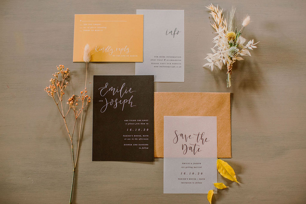 Stationery Invites Invitation Glassine Yellow Black Calligraphy Outdoor Autumn Wedding Ruby Walker Photography