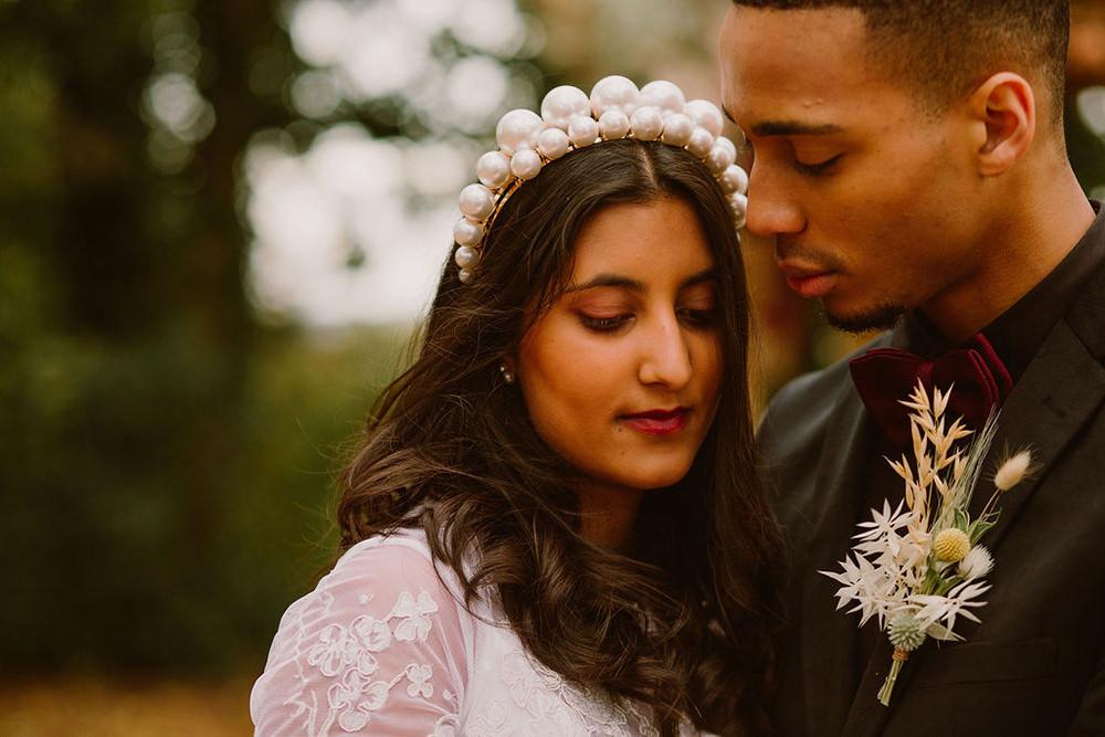 Bride Bridal Hair Accessory Crown Tiara Make Up Outdoor Autumn Wedding Ruby Walker Photography