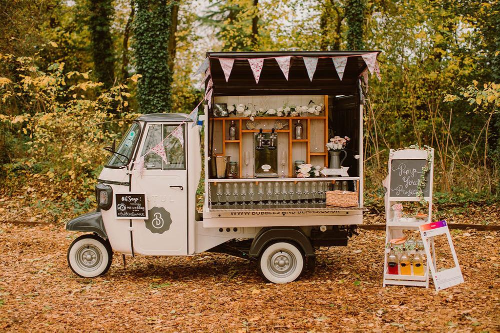 Prosecco Cart Van Truck Drinks Bar Outdoor Autumn Wedding Ruby Walker Photography