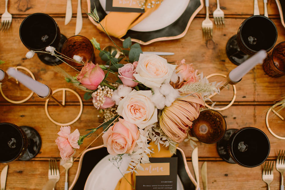 Place Setting Decor Menu Black Mustard Outdoor Autumn Wedding Ruby Walker Photography