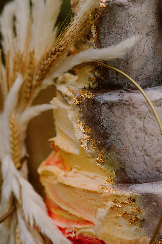 Cake Buttercream Icing Hoop Grass Outdoor Autumn Wedding Ruby Walker Photography