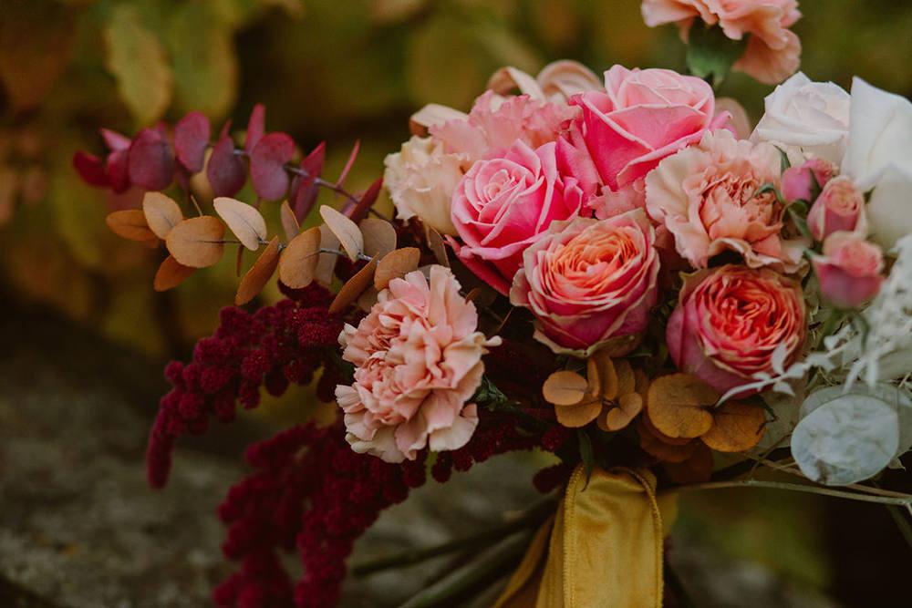 Bouquet Flowers Bride Bridal Amaranthus Burgundy Pink Rose Mustard Ribbon Outdoor Autumn Wedding Ruby Walker Photography