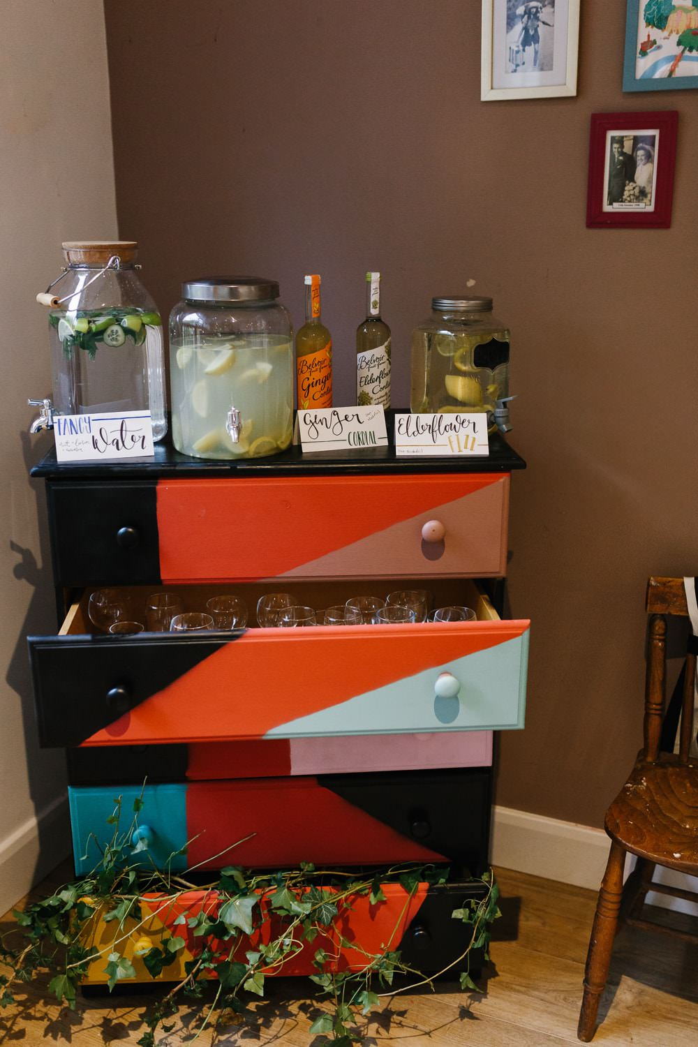 Bar Drinks Chest of Drawers Furniture Village Hall Wedding Emily + Katy Photography