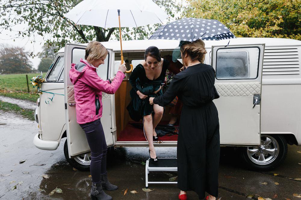 Campervan Transport Village Hall Wedding Emily + Katy Photography