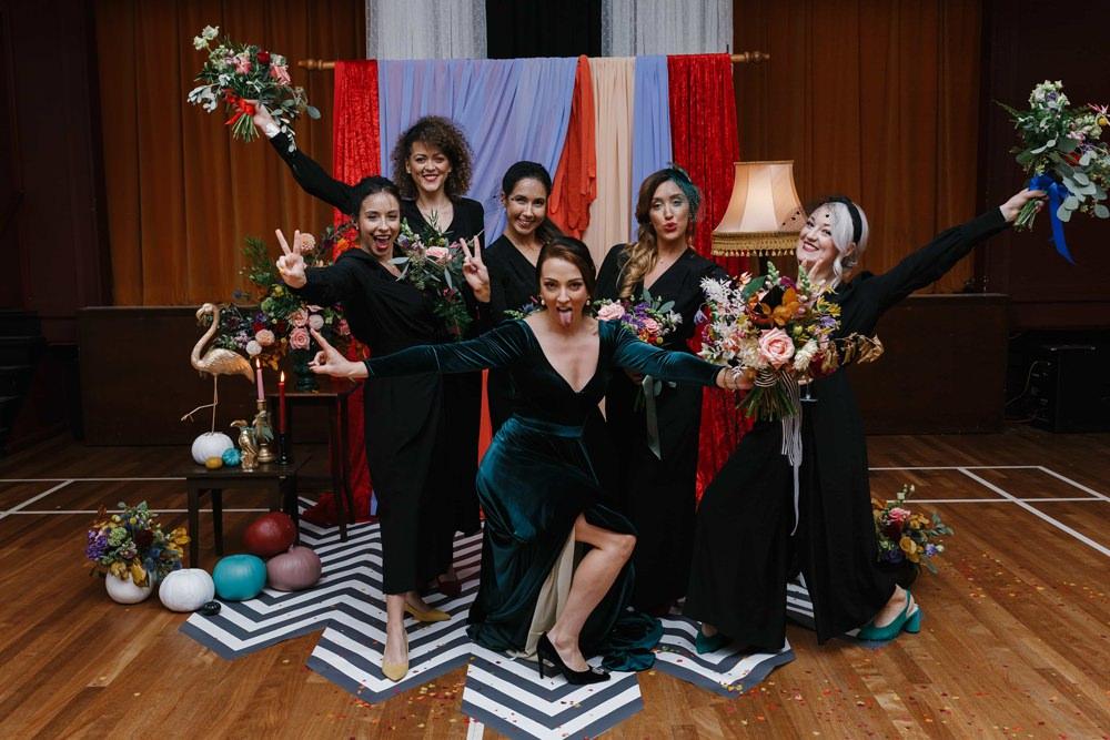 Bridesmaids Bridesmaid Black Jumpsuits Village Hall Wedding Emily + Katy Photography
