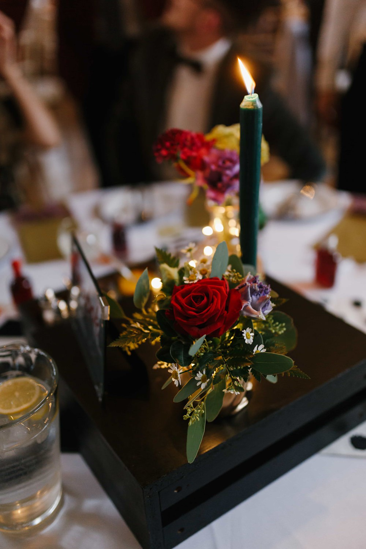 Centrepiece Decor Candles Flowers Village Hall Wedding Emily + Katy Photography
