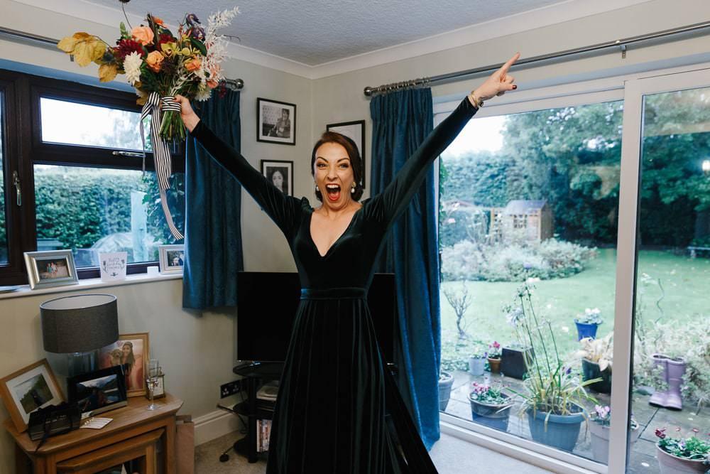 Dress Gown Bride Bridal Green Velvet Long Sleeves Kula Tsurdiu Village Hall Wedding Emily + Katy Photography