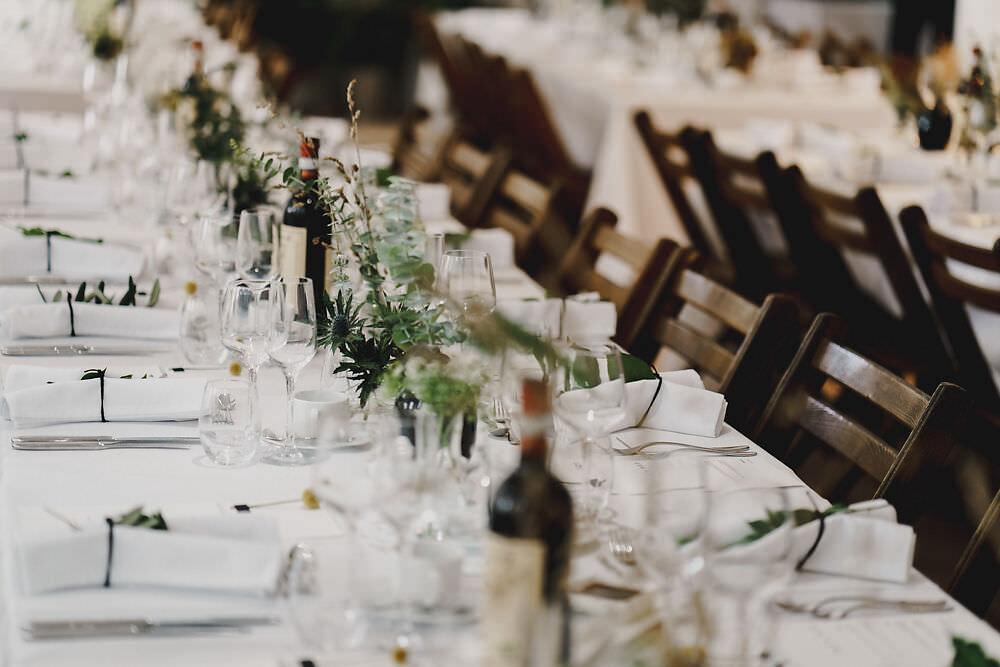 Long Tables Greenery Foliage Decor Winding House Wedding MIKI Studios