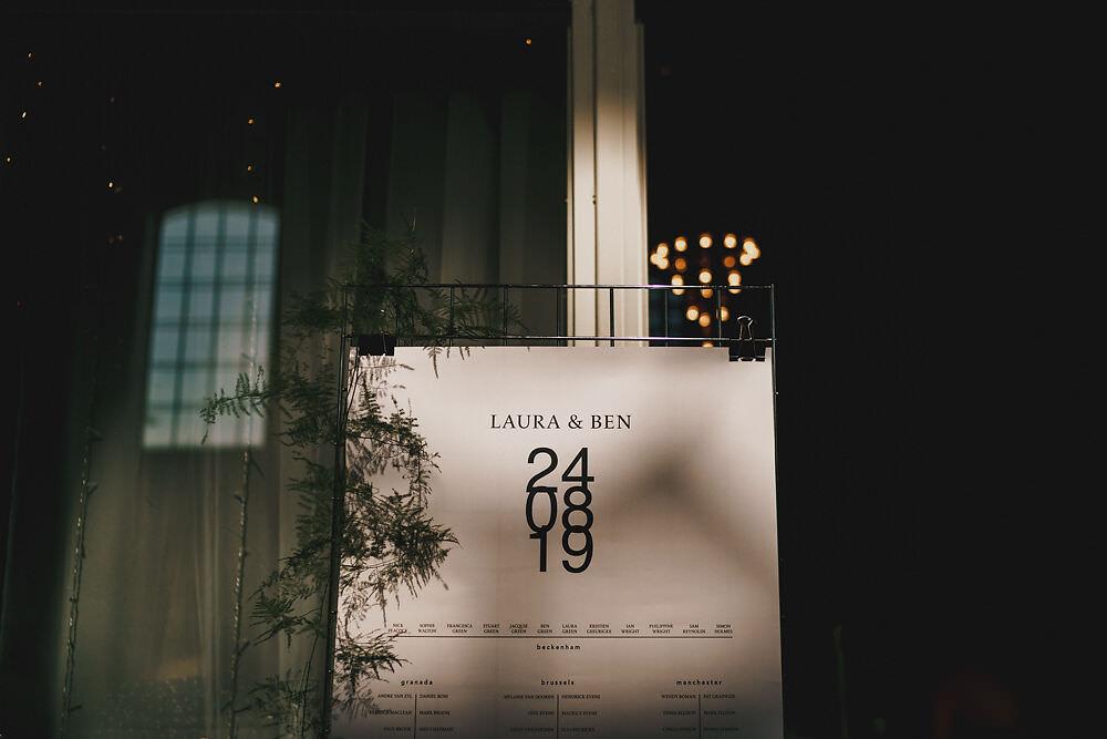Seating Plan Table Chart Modern Typography Winding House Wedding MIKI Studios
