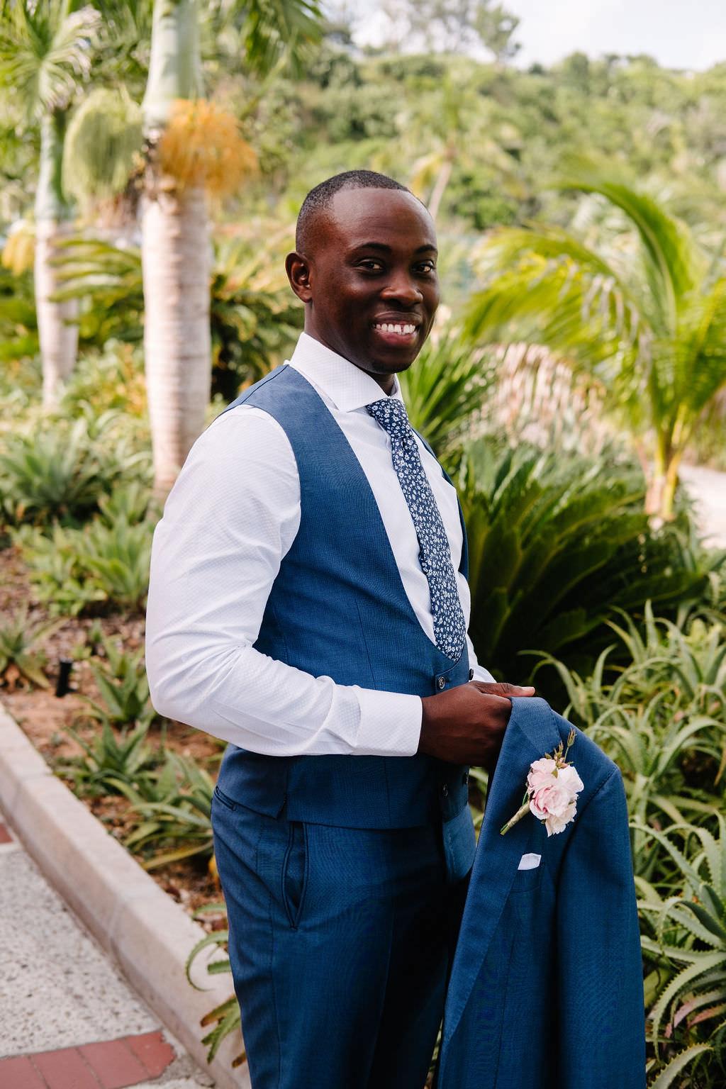 Groom Suit Navy Blue Tie Waistcoat Bermuda Wedding Helen Abraham Photography