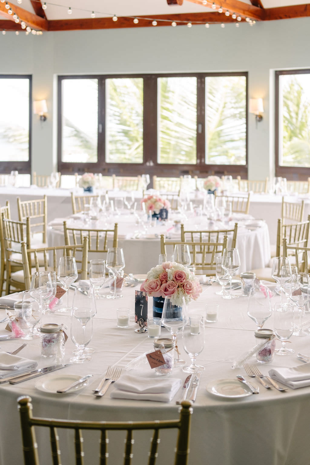 Table Flowers Centrepiece Bermuda Wedding Helen Abraham Photography