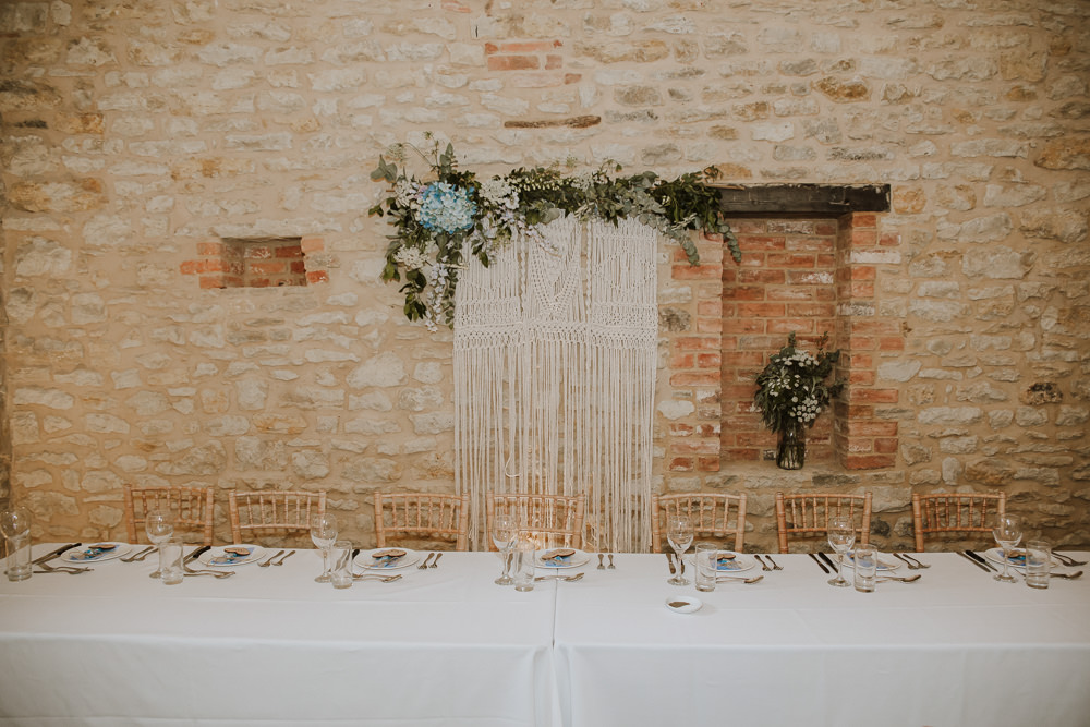 Macrame Hanging Backdrop Top Table Crafty Wedding Sam Bennett Photography